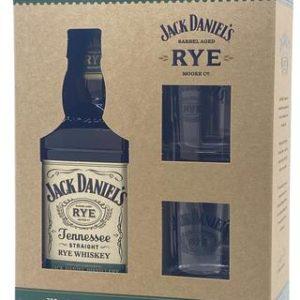 Jack Daniel's Tennessee Rye Whiskey 750ml w/ Two Glasses - Sendgifts.com